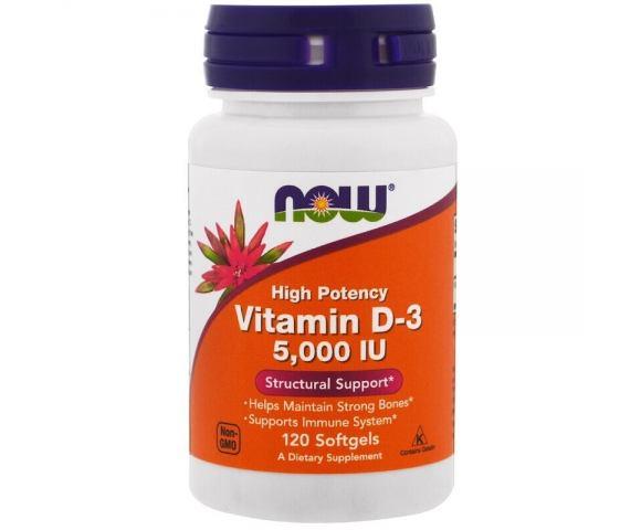 Now Foods Vitamin D-3 5000 IU (120 капс.)
